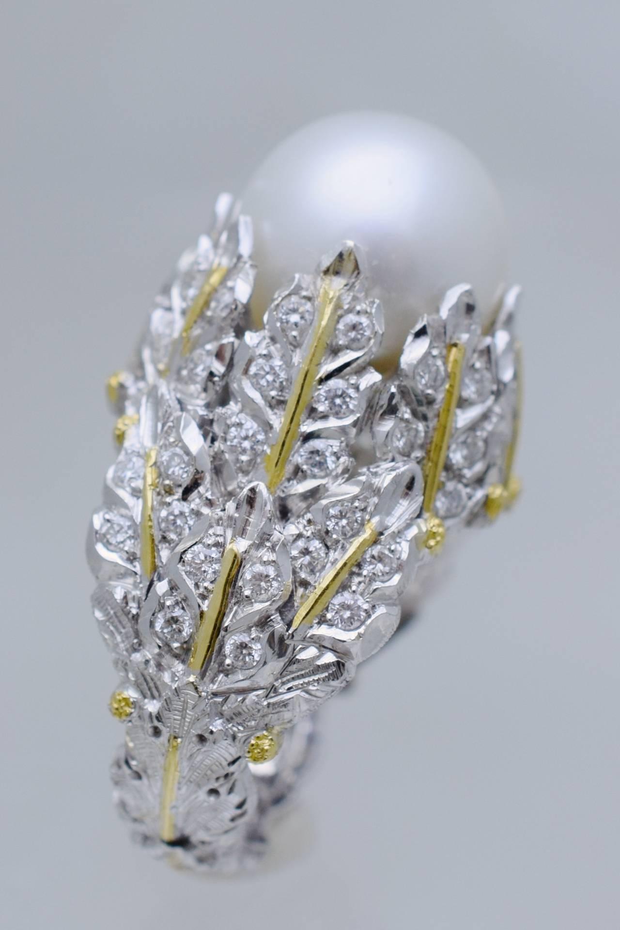 mario buccellati pearl diamond gold ring at 1stdibs