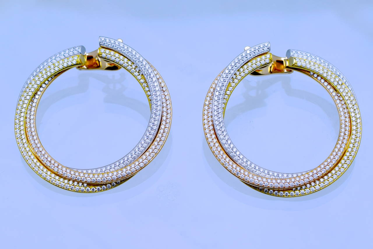 Cartier Diamond Tricolor Gold Trinity Hoop Earrings 4