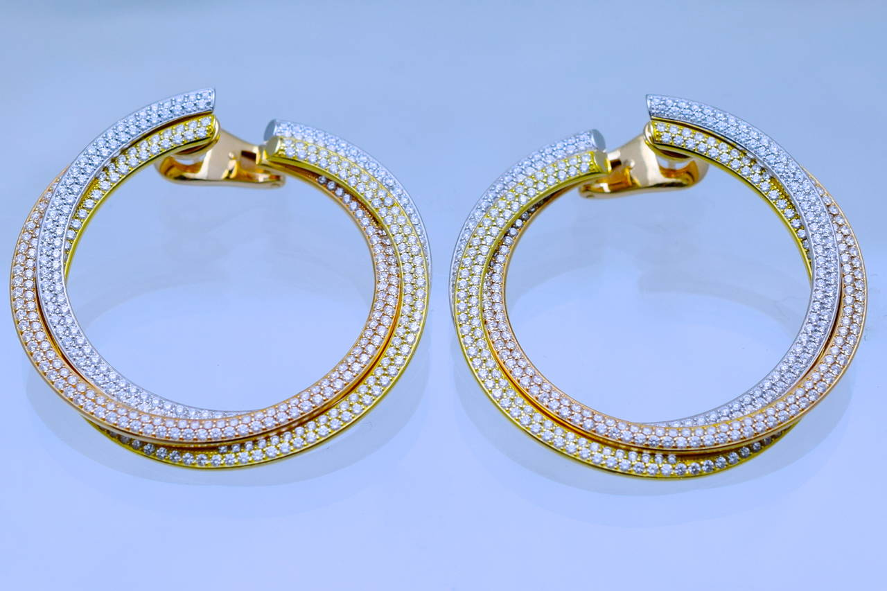 Cartier Diamond Tricolor Gold Trinity Hoop Earrings 3