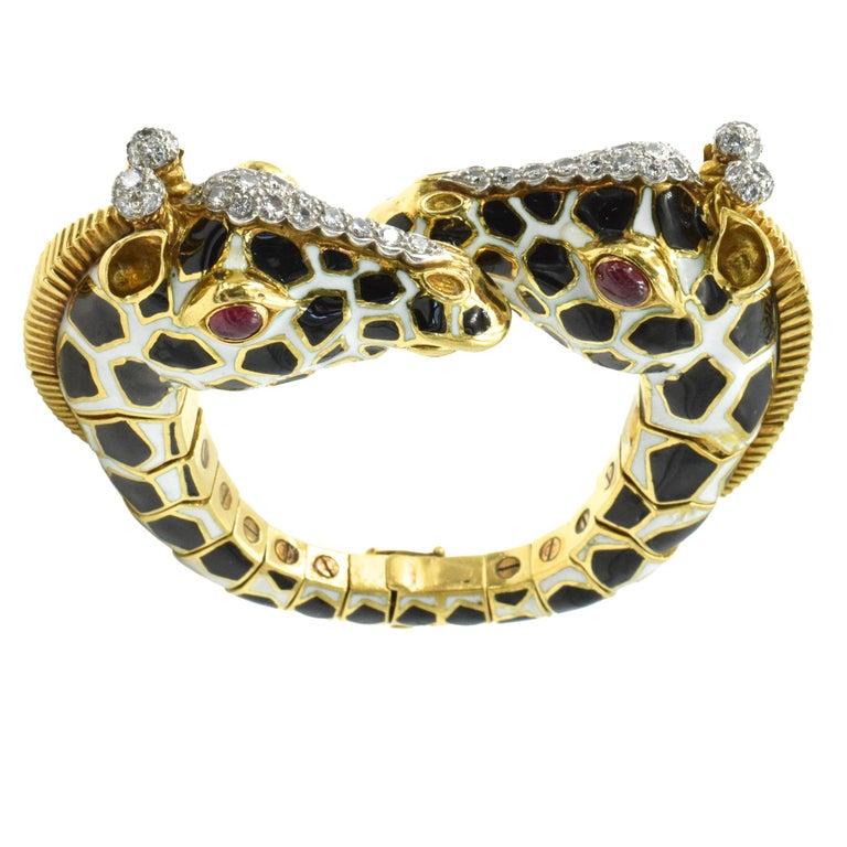 David Webb Diamond, Ruby and Enamel Giraffe Bracelet For Sale 5