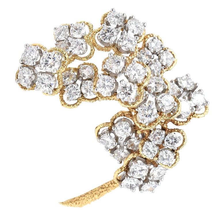 Van Cleef & Arpels Floral Diamond Brooch For Sale