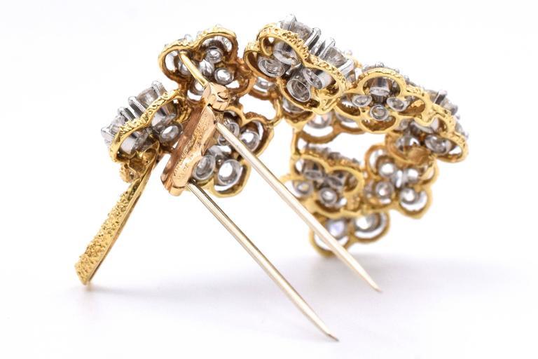 Women's Van Cleef & Arpels Floral Diamond Brooch For Sale