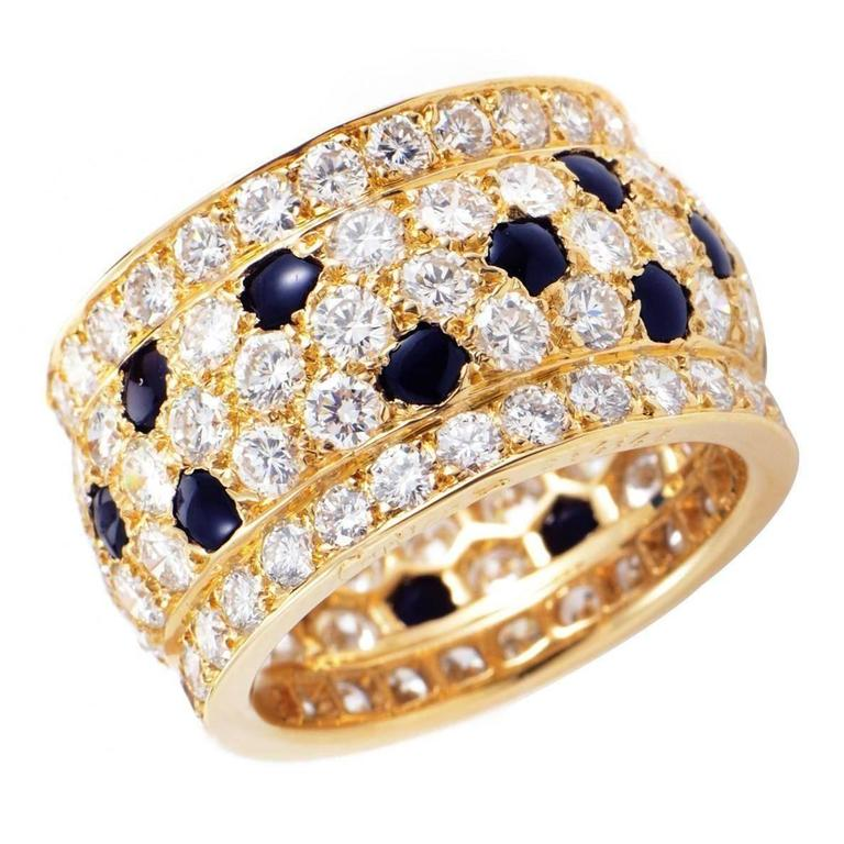 Cartier Sapphire Diamond Gold Panther Band Ring