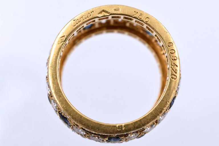 Artist Cartier Sapphire Diamond Gold Panther Band Ring For Sale
