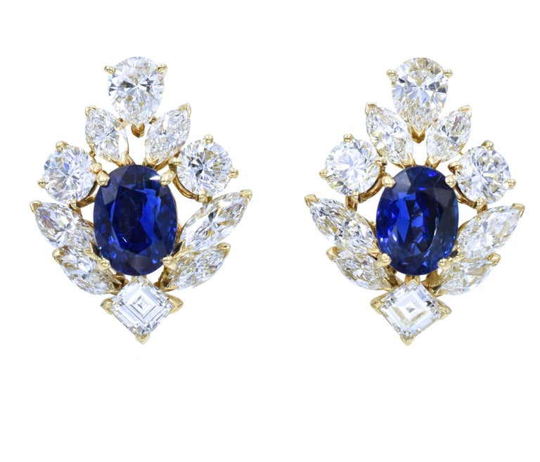 Women's Cartier GIA Burma No Heat Sapphire Diamond Earrings For Sale