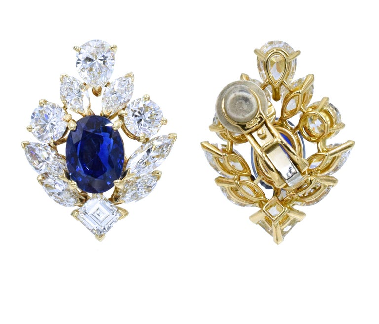 Cartier GIA Burma No Heat Sapphire Diamond Earrings For Sale 1