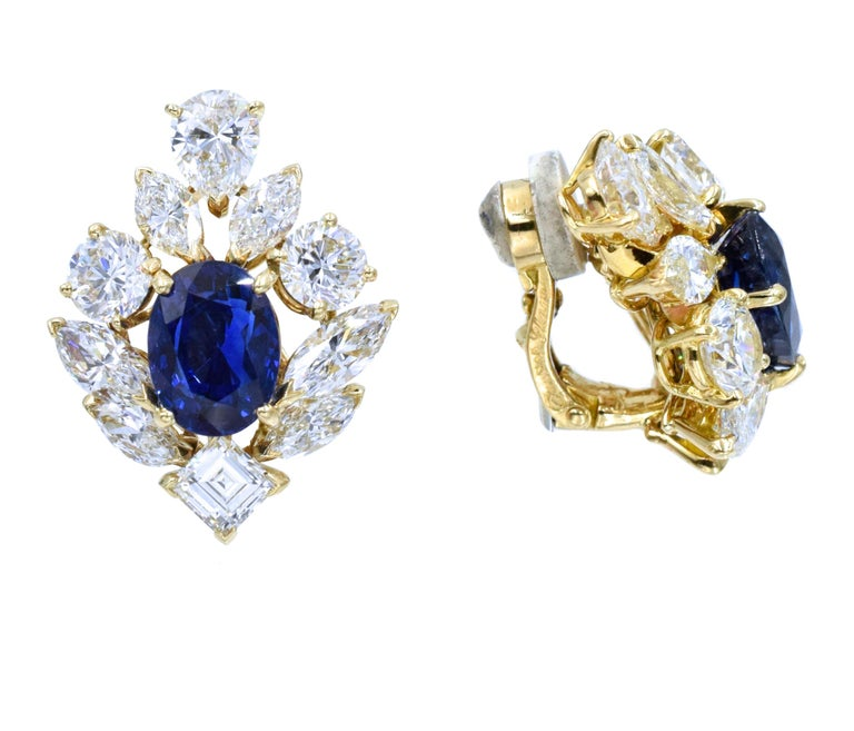 Cartier GIA Burma No Heat Sapphire Diamond Earrings For Sale 2