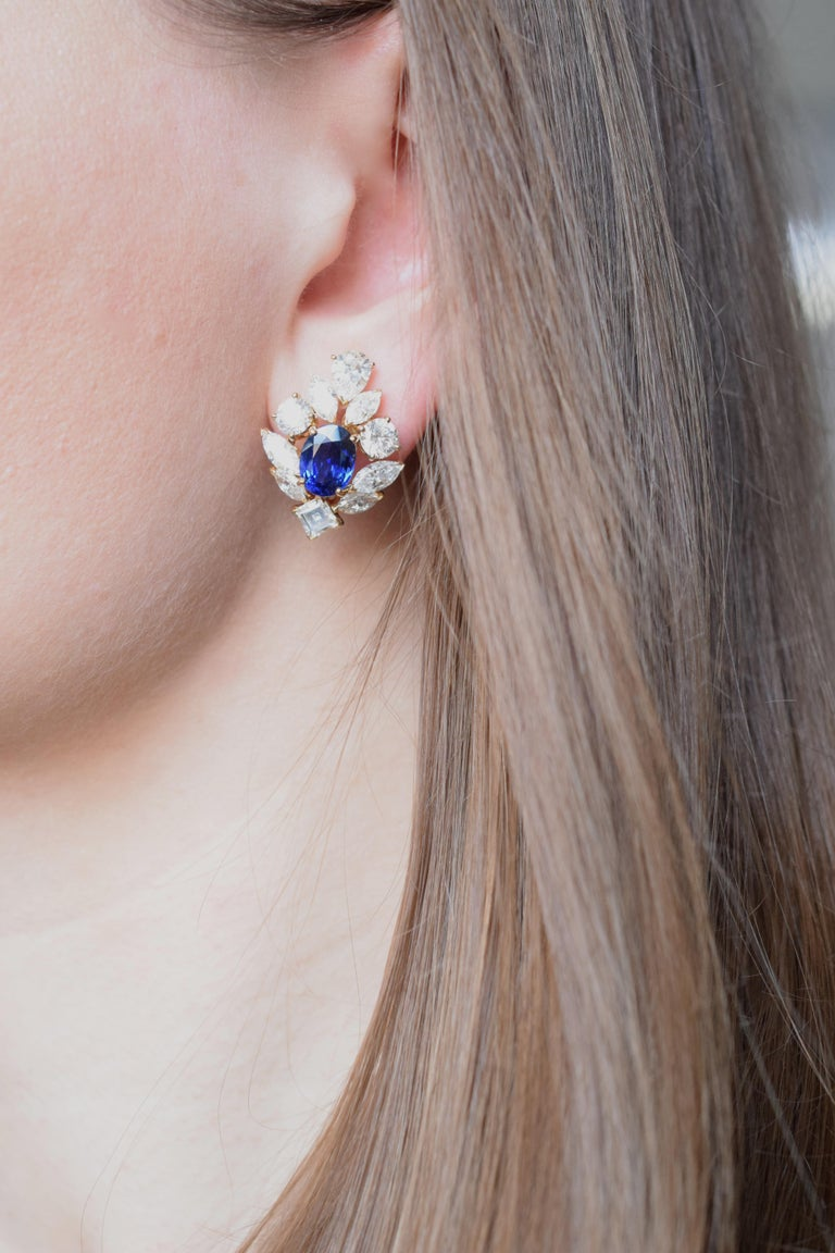Superb!!! Cartier- Paris  sapphire and diamond clip on earrings.