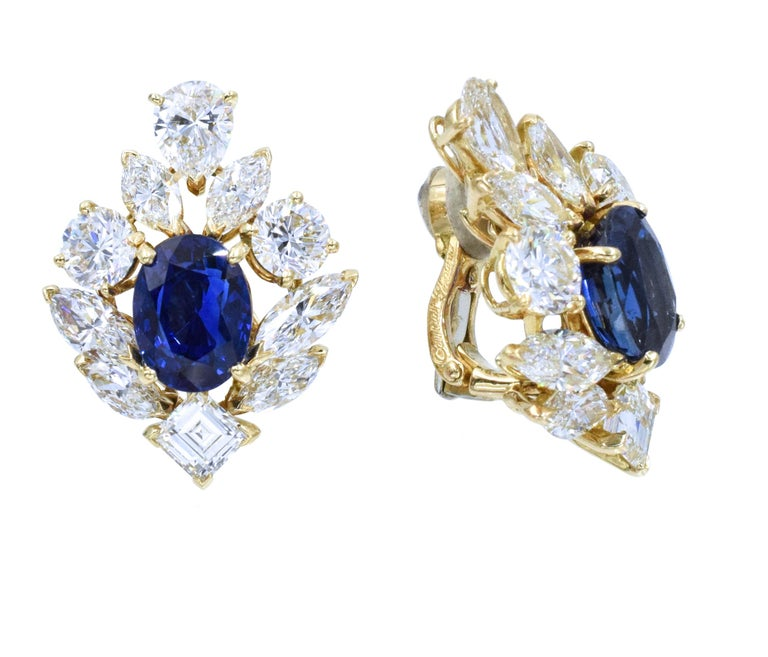 Cartier GIA Burma No Heat Sapphire Diamond Earrings For Sale 5