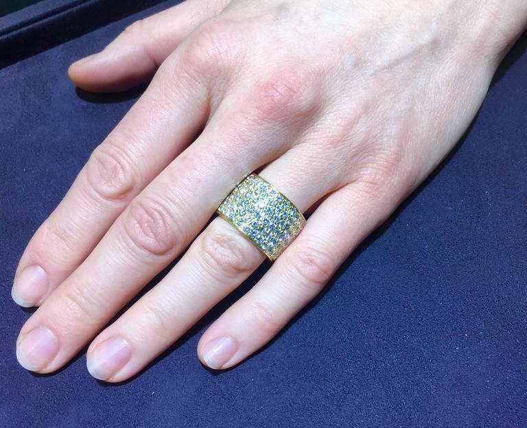 Van Cleef & Arpels Classic Wide Diamond Gold Band In Excellent Condition For Sale In New York, NY