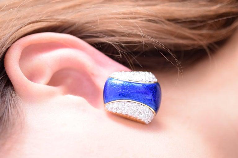 Women's David Webb Blue Enamel and Diamond Clip Earrings For Sale