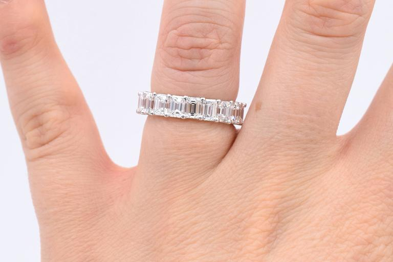 Nally 5.40 Carat Emerald Cut Diamonds Platinum Eternity Band Ring For Sale 1