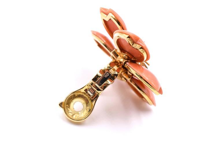 Modern Van Cleef & Arpels Rose De Noel Coral Earrings For Sale