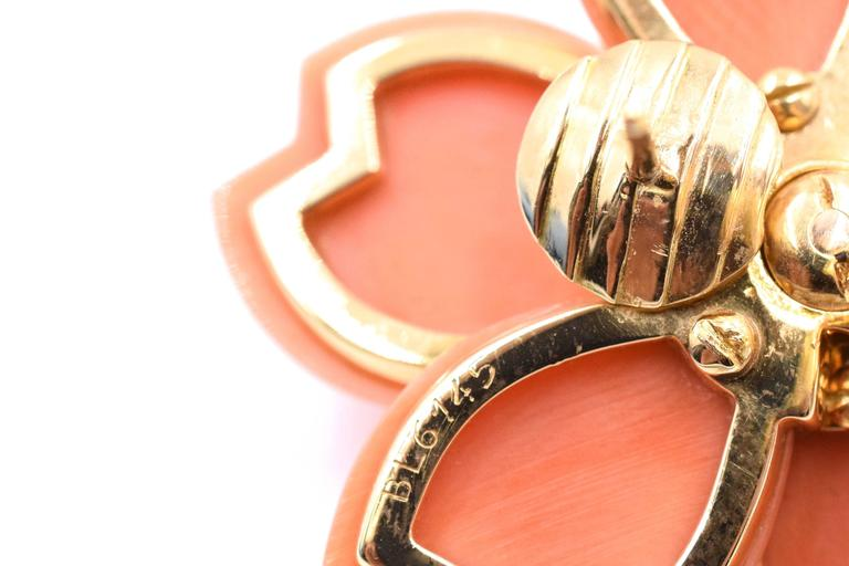 Van Cleef & Arpels Rose De Noel Coral Earrings In Excellent Condition For Sale In New York, NY