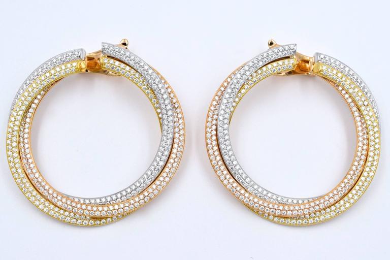 Cartier Diamond Tricolor Gold Trinity Hoop Earrings 5