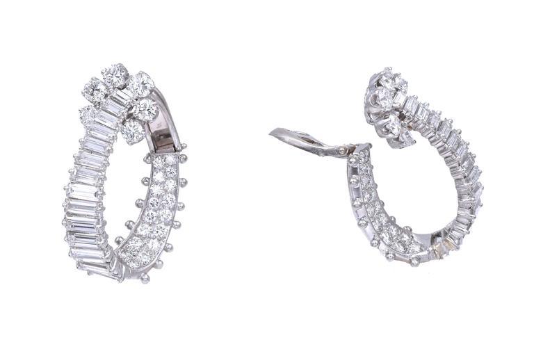 Art Nouveau Diamond Platinum Hoop Ear-Clips For Sale