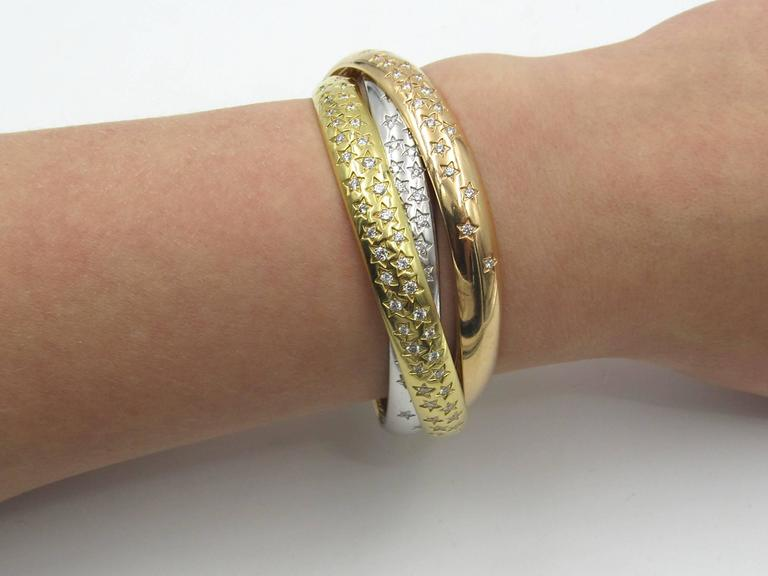 Cartier Trinity Three Color Gold Celestial Bangle Bracelet 3