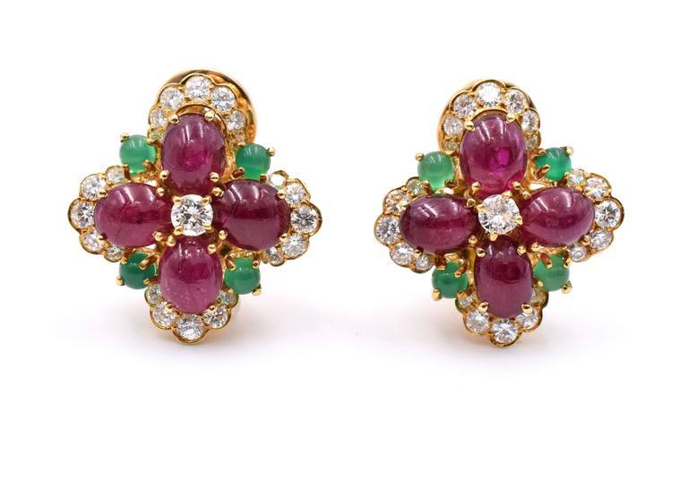 Vintage Van Cleef & Arpels Ruby Chrysoprase Diamond Gold Ear Clips 2