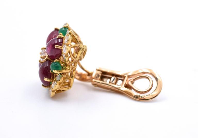 Vintage Van Cleef & Arpels Ruby Chrysoprase Diamond Gold Ear Clips 5