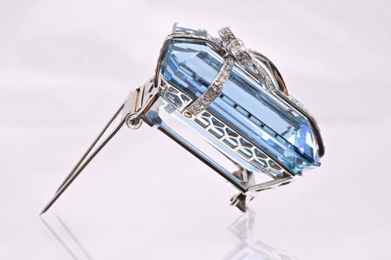 Artist Tiffany & Co. Aquamarine Diamond Brooch For Sale