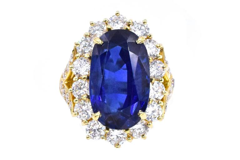 Oval Cut Van Cleef & Arpels No Enhancement Burmese 12.01 carat Sapphire  Diamond  Ring For Sale