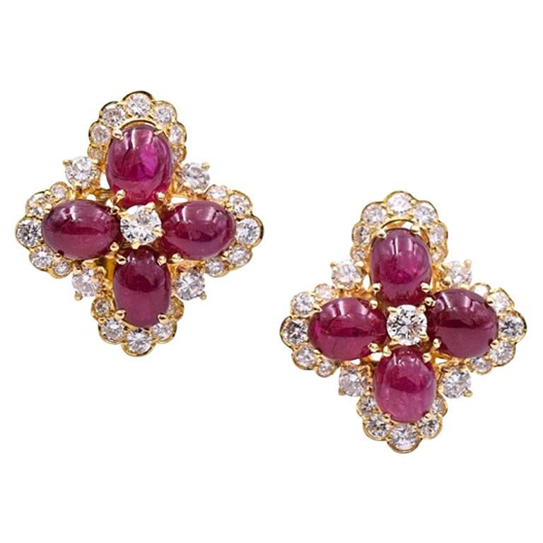 Van Cleef & Arpels Ruby and Diamond Ear Clips For Sale