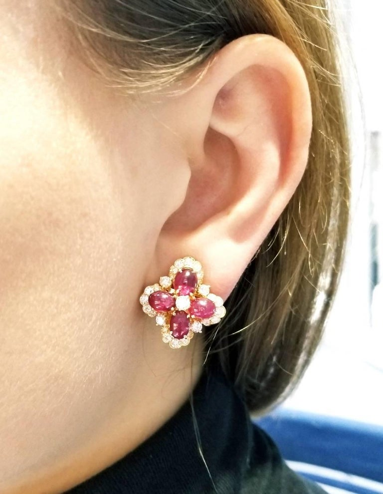 Round Cut Van Cleef & Arpels Ruby and Diamond Ear Clips For Sale