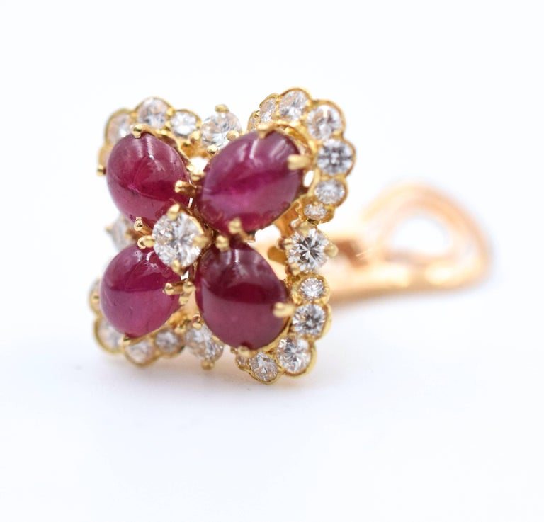 Van Cleef & Arpels Ruby and Diamond Ear Clips For Sale 4