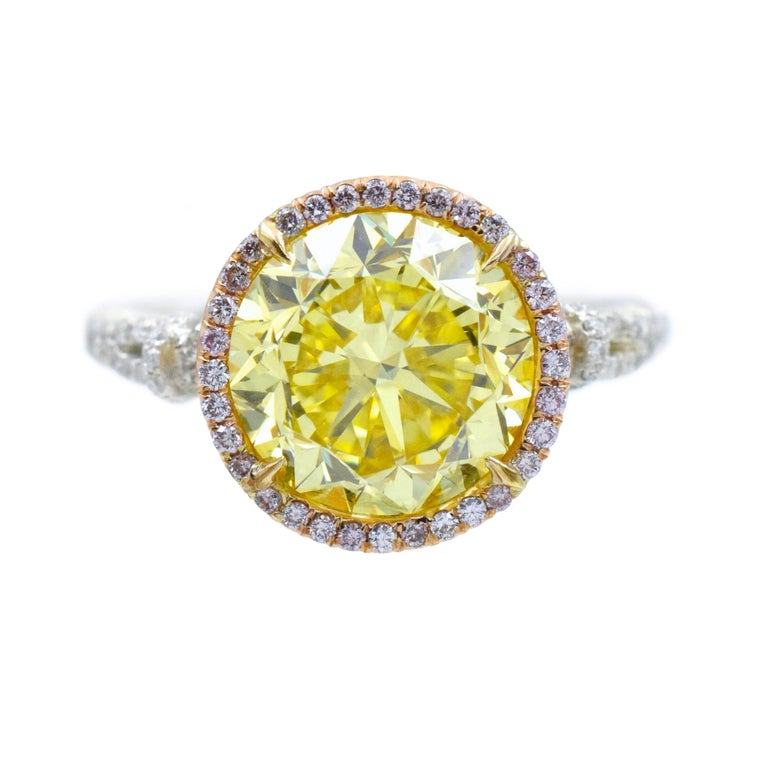 NALLY  GIA Vivid Intense Yellow Color Diamond Ring  For Sale 4
