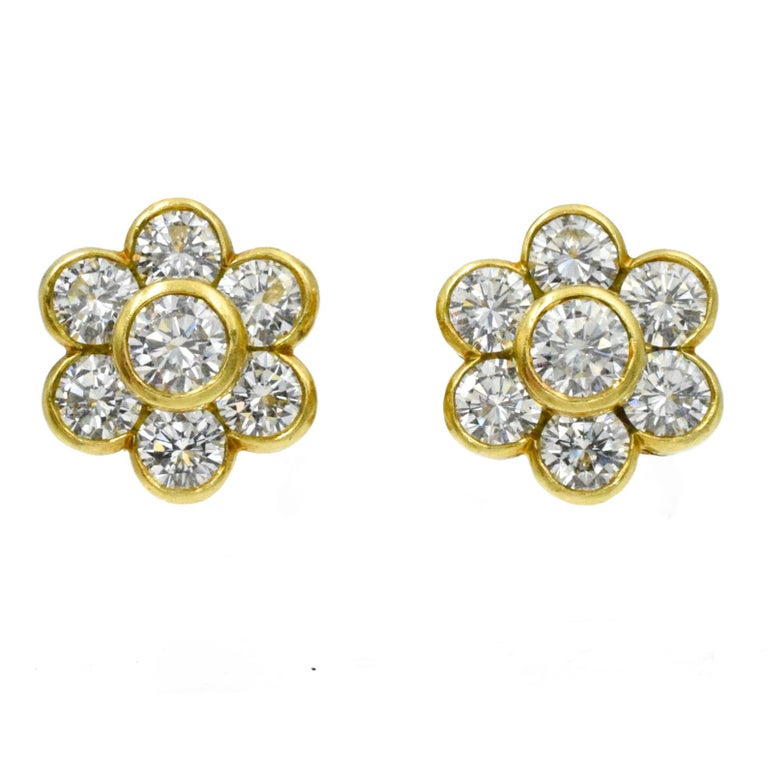 Artist Van Cleef & Arpels Diamond Cluster Earrings