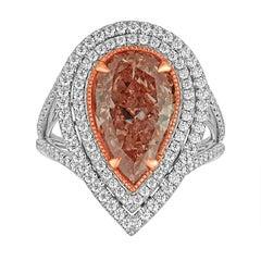 4.14 Carat GIA Certified Fancy Orange Pink Pear Shaped Diamond Ring