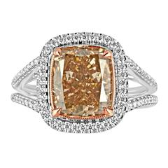 Fancy Deep Brown Orange Cushion Cut Diamond Set in Two-Color Gold Ring Mounting