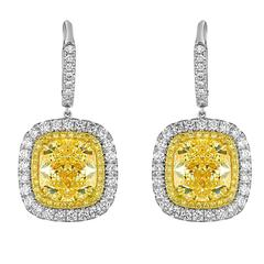 GIA Cert Yellow Cushion Cut Diamond Earrings