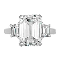 6.19 Carat GIA Certified Diamond Platinum Three-Stone Ring
