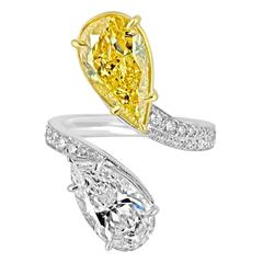 4.06 Carat GIA Certified and 3.02 Carat Diamonds Two Color Gold Ring