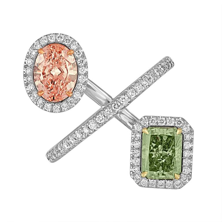 2.15 Carat Pink and 2.40 Carat Green Yellow GIA Certified Diamonds Gold Ring 1