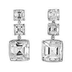 4.04 and 4.01 Carat GIA Certified Asscher Cut Diamond Platinum Earrings