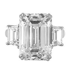 13.07 Carat Emerald Cut Diamond Platinum Ring