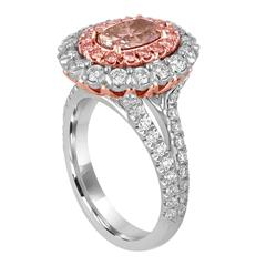 1.10 Carat GIA Certified Fancy Brownish Pink and White Diamond Platinum Ring