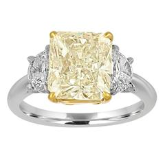 4.01 Carat Radiant Diamond Set with Half Moons in Gold and Platinum Mounting