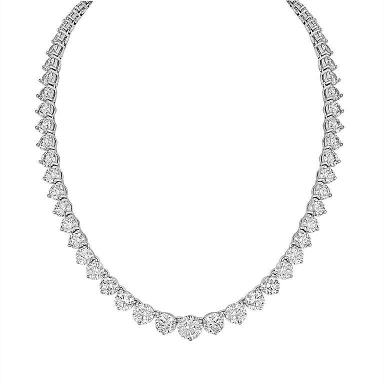 49.63 Carat of Graduating Diamonds Tennis Necklace