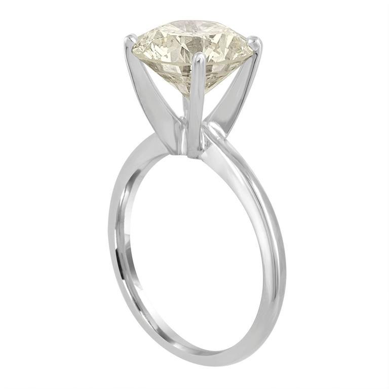 4.32 Carat Brilliant Diamond Gold Solitaire Engagement Ring