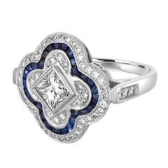 Blue Sapphires Diamonds Gold Flower Ring