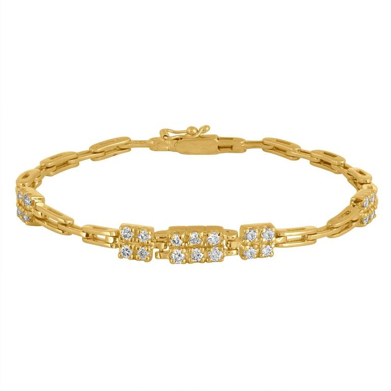 1.10 Carats Diamonds Gold Link Bracelet