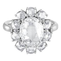 3.23 Carats Rose Cut Diamonds Platinum Ring