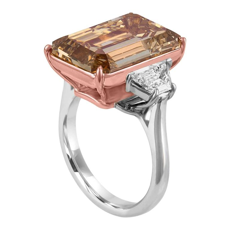 12.62 Carat Emerald Cut Diamond Rose Gold Platinum Ring For Sale