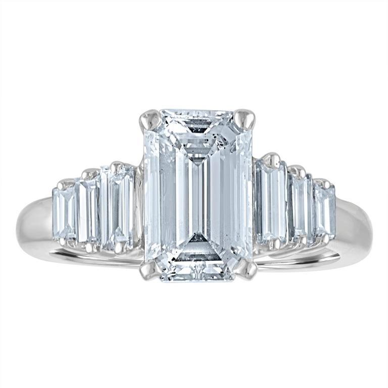 2.54 Carat GIA Certified Emerald Cut Diamond Ring For Sale