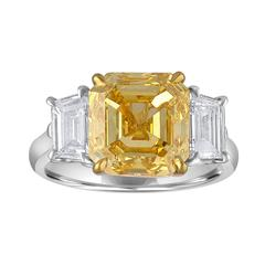 5.04 Carat Asscher Cut Diamond Set with Half Moons in Gold Platinum Mounting