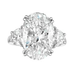 10.07 Carat Oval GIA Set with Half Moons in Platinum Ring Mounting
