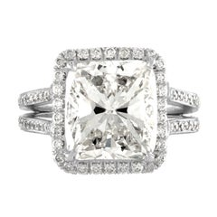 6.99 Carat Cushion Cut Is Set in Platinum Ring Mounting